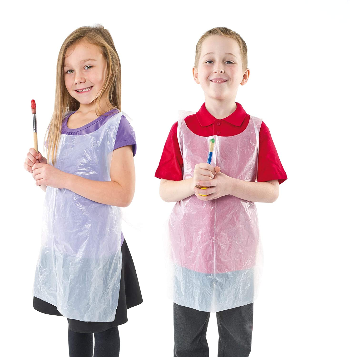 Ancomfort Restaurant Coverall. 100PCS 25x40in For Cokking Bib Style Disposable Plastic Apron Pe Waterproof Transparent Plastic Apron Painting Disposable Apron