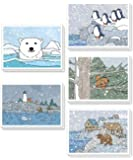 Cute Christmas Cards Bulk Pack 25, Winter Holiday Cards Set, Wildlife Animals Christmas Stationery, Kraft Envelopes Included 4 X 6 Inches