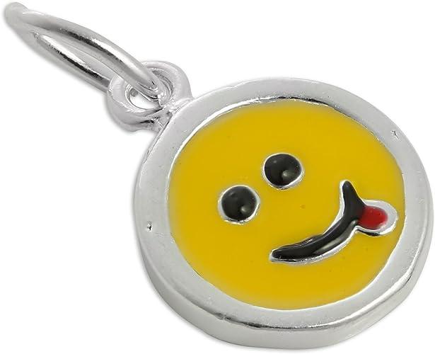 Charm Smiley Qui Tire La Langue En Argent 925 1000 Et Email Amazon Fr Bijoux