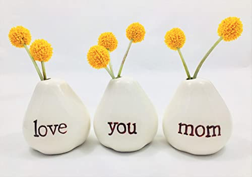 Gift for Mom…LOVE YOU MOM Bud Vases for Birthday Gift, Get Well Gift, Thank You Gift Mothers Day Gift, Christmas Gift, Valentines Day Gift, Going Away Gift or JUST BECAUSE