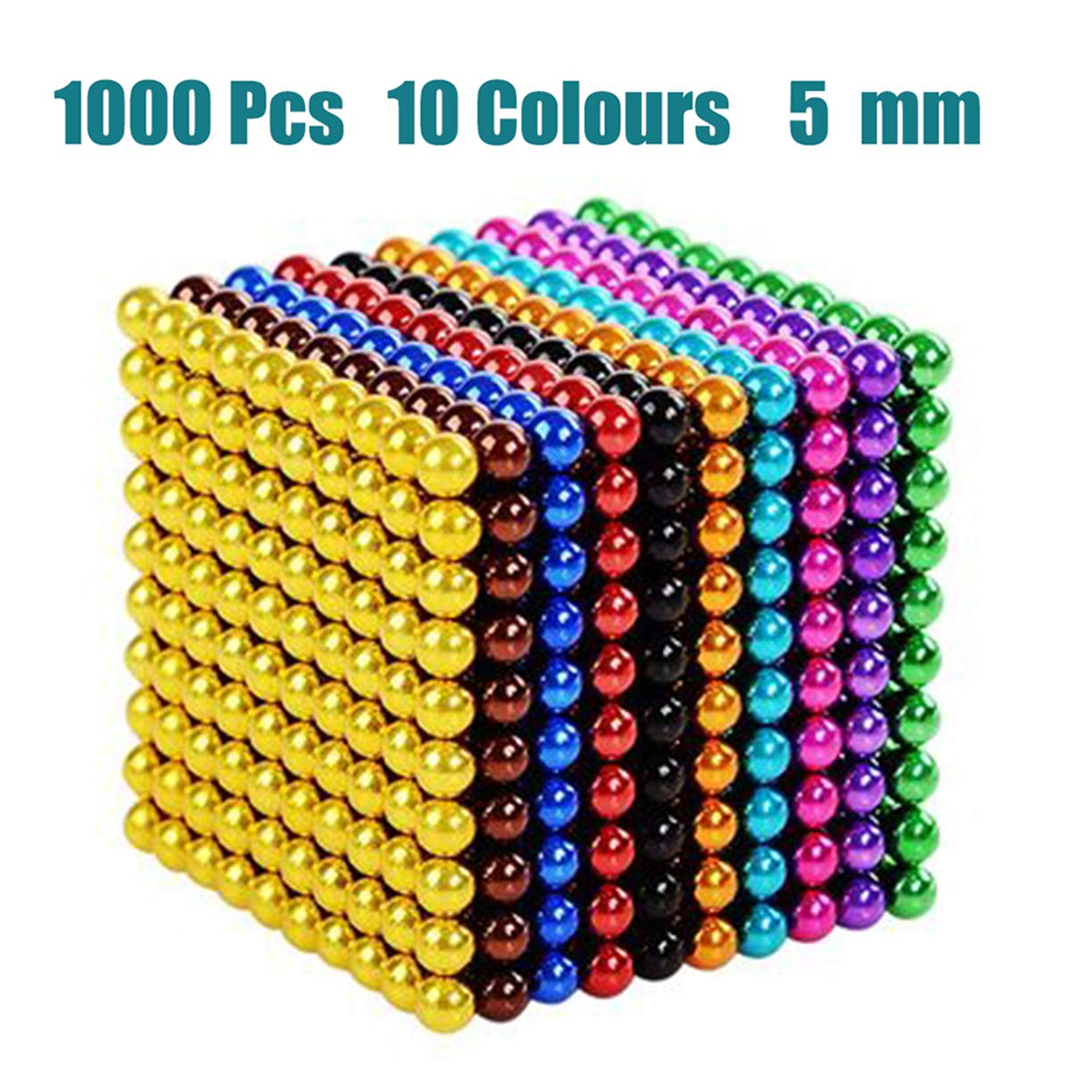 LOVEYIKOAI Upgraded 5MM 1000 Pcs 10 Colors Magnets Cube Building Blocks Magnetic Toys Colorful Buildable Sculpture Office Stress Relief Toys for Adults by LOVEYIKOAI
