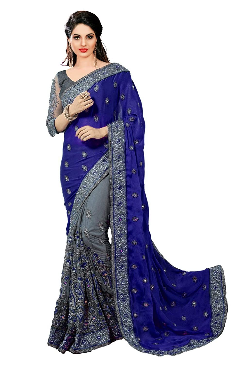 Panash Trends Women's Heavy Embroidery Work Satin Silk & Net Sarees-Black