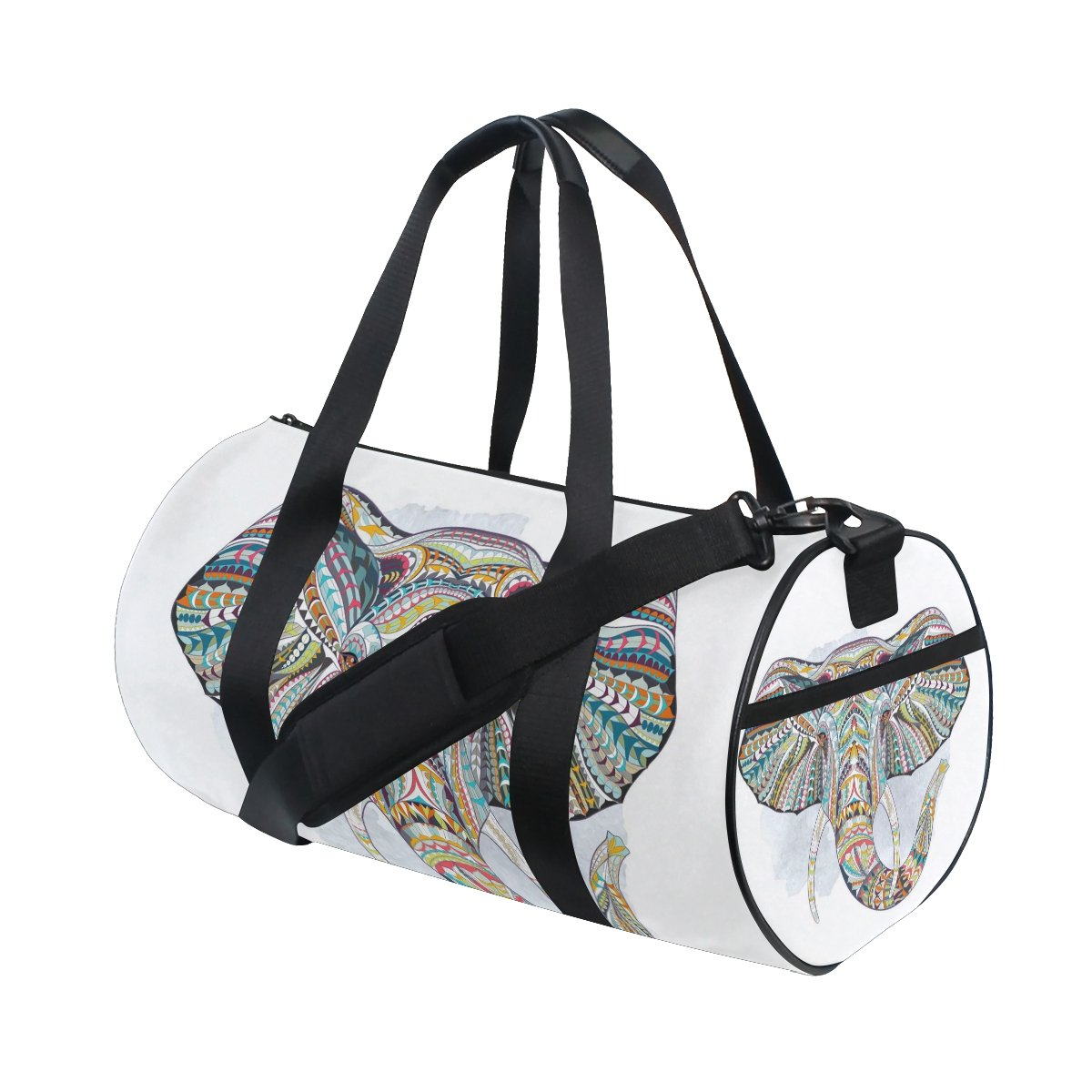 Animal Art Colorful Elephant Lightweight Canvas Sports Bag Duffel Yoga Gym Bags