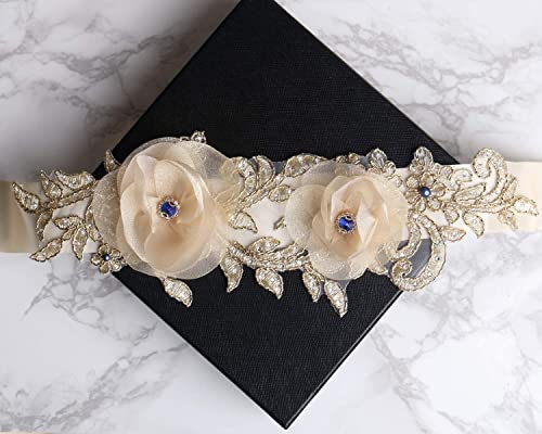 Bridal Champagne Sash Belt Crystal Rhinestone Wedding