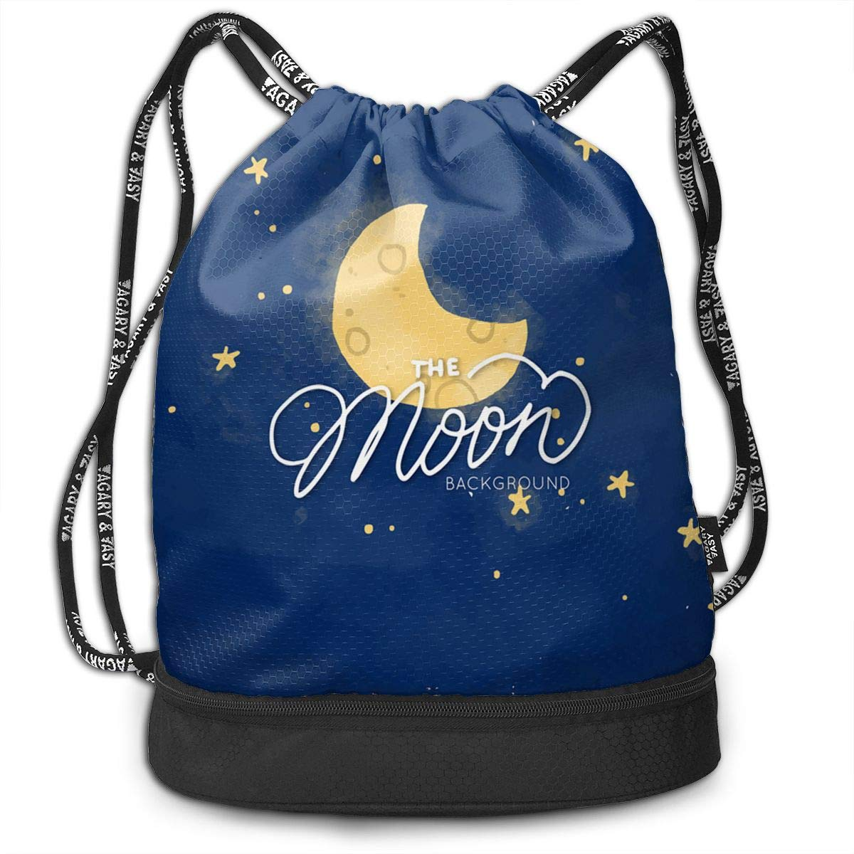 Cinch Backpack Sackpack Tote Sack with Wet /& Dry Compartments for Travel Hiking Gym Zol1Q Colorful Galaxy Space Moon Star Drawstring Bag for Men /& Women