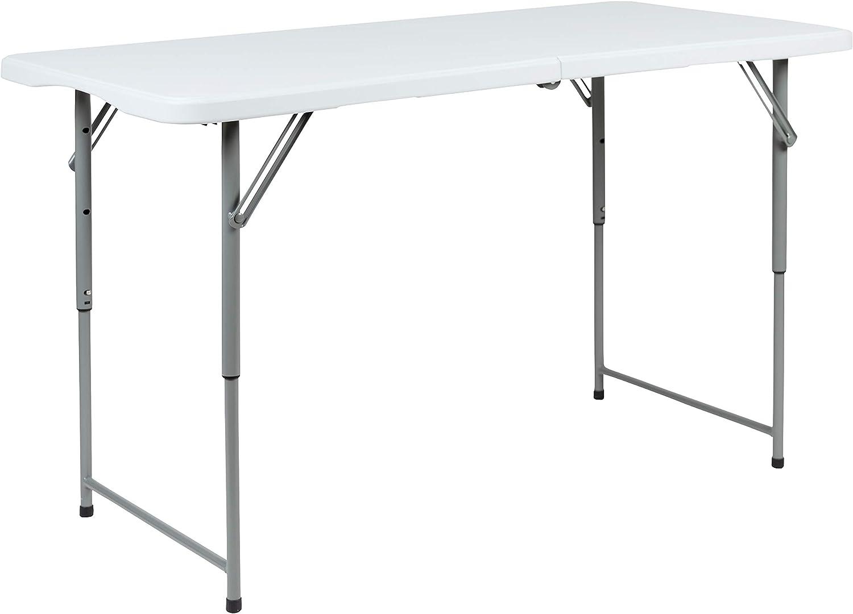 Flash Furniture 4-Foot Height Adjustable Bi-Fold Granite White Plastic Folding Table