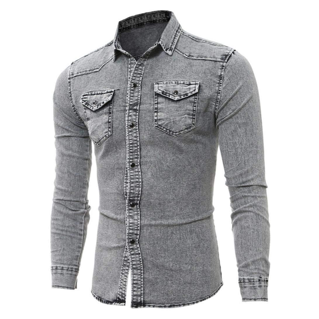 Casual Long Sleeve Lightweight Denim Shirt Cotton Blend Button Down Dress Mens Shirts Cowboy Tops