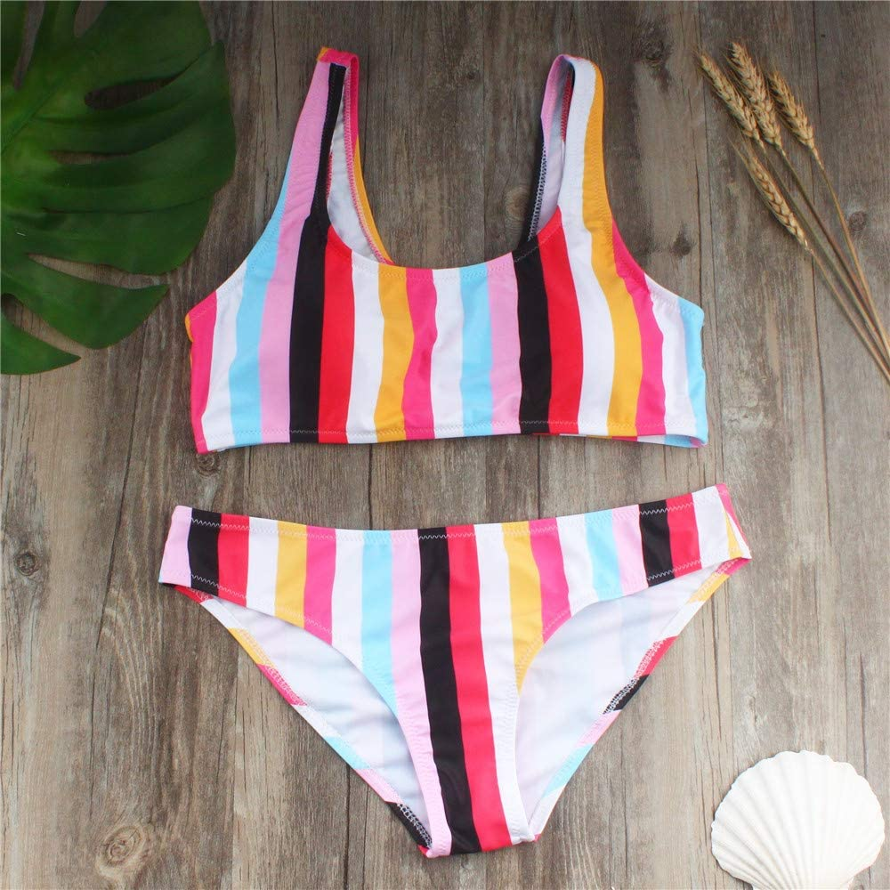 POQOQ Swimsuits Bathing Suit Women Push up Padded Printed Sporty Tankini M Blue