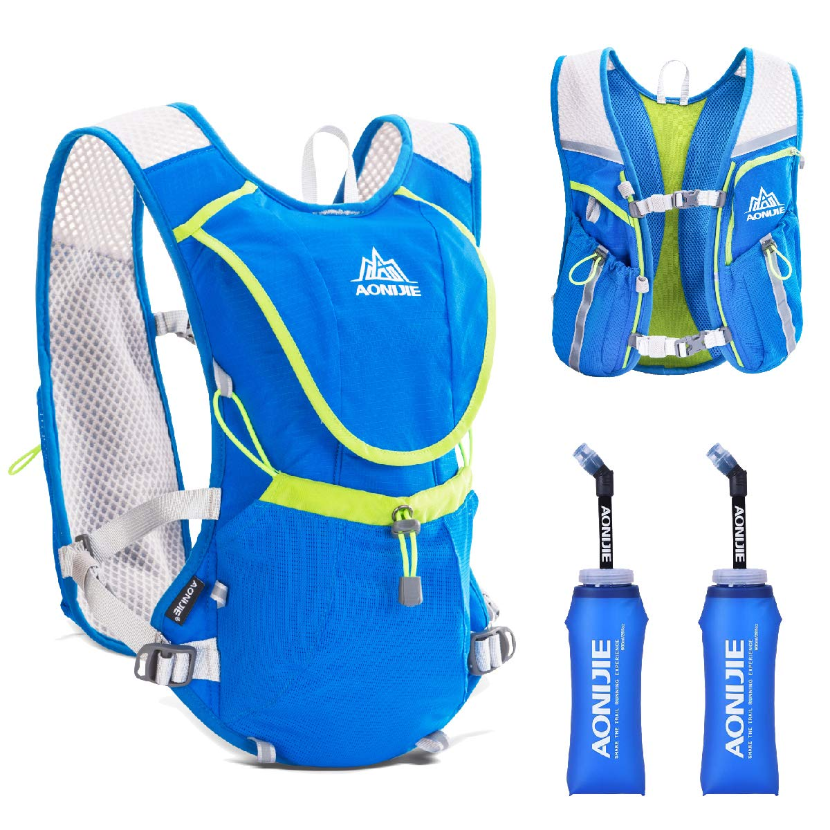 TRIWONDER Hydration Pack Backpack Professional 8L Outdoors Mochilas Trail Marathoner Running Race Cycling Hydration Vest (Blue - with 2 Soft Water Bottles (350ml))