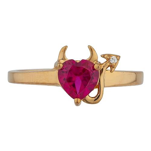 14 k yellow gold unique love heart ruby diamond designer party wear fine jewelry for women