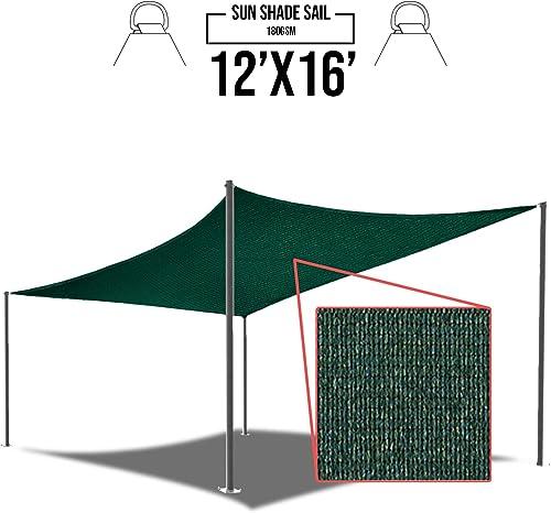 E K Sunrise 12 x 16 Green Sun Shade Sail Square Canopy – Permeable UV Block Fabric Durable Patio Outdoor Set of 1