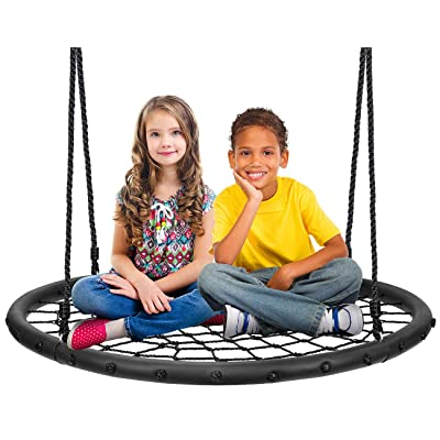 "Sorbus Spinner Swing – Kids Round Web Swing – Great for Tree, Swing Set, Backyard, Playground, Playroom – Accessories Included [New Improved 2020 Design!] (40"" Net Seat): Toys & Games"