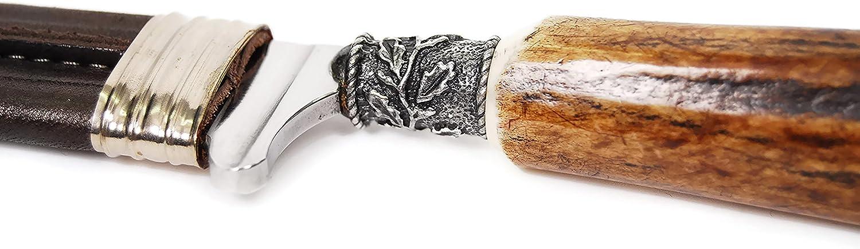 LINDER Trachtenmesser f/ür die Lederhose Edelwei/ß-Motiv Echtes Feitl Jagdmesser Nicker Rostfrei 9cm Edelstahlklinge