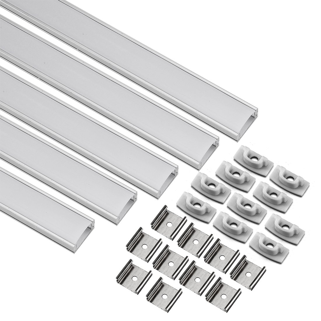uxcell LED Aluminum Channel - 0.5M/1.64Ft Led Channels and Milky Covers with End Caps and Mounting Clips for LED Light Strip Mounting (CN509, 0.5mx17.4mmx7mm) - 5 Packs