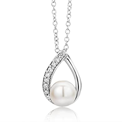 Miore women's 9ct White Gold Small Freshwater Pearl and Diamond Pendant on 45cm Chain