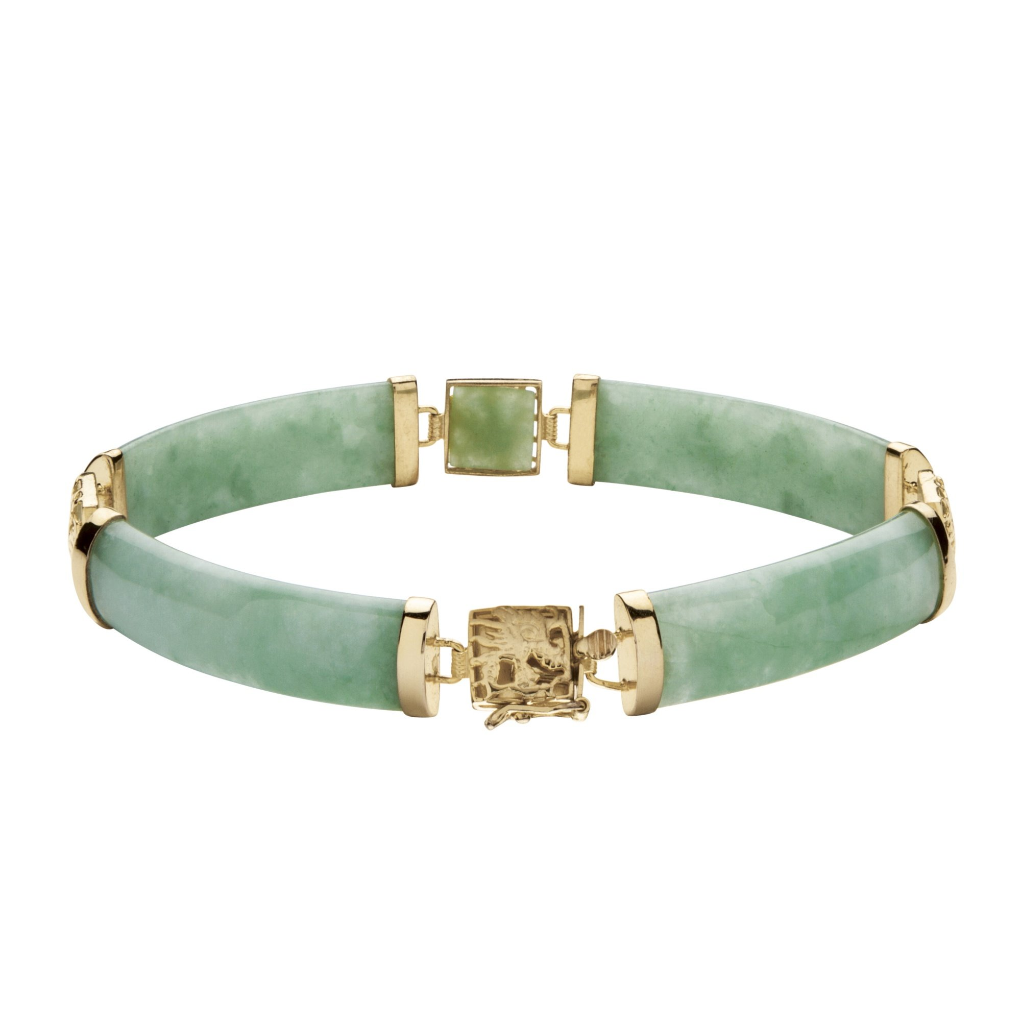 Genuine Green Jade Gold Tone over .925 Sterling Silver Dragon Link Bracelet 7.25'' by Palm Beach Jewelry