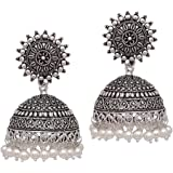 V L IMPEX Sun Shape Lightweight With Pearl Beads Silver Plating Oxidised Girls Jhumki Jhumka Earring