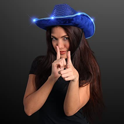 b318a67d Image Unavailable. Image not available for. Color: FlashingBlinkyLights Blue  Sequin Light Up LED Cowboy Hat