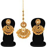 Apara LCT Earring and Maang Tikka Pearl Drop Combo for Women/Girls