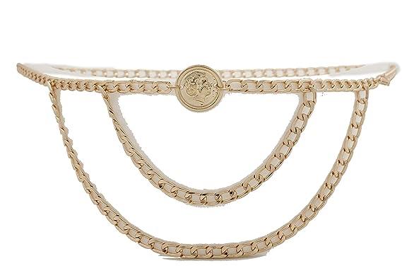 TFJ Womens Fashion Belt Hip Waist Metal Chains Cross Charms S M L Gold