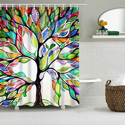 EA STONE Tree Of Life Shower Curtain With 12 HooksPolyester Fabric Bathroom Home