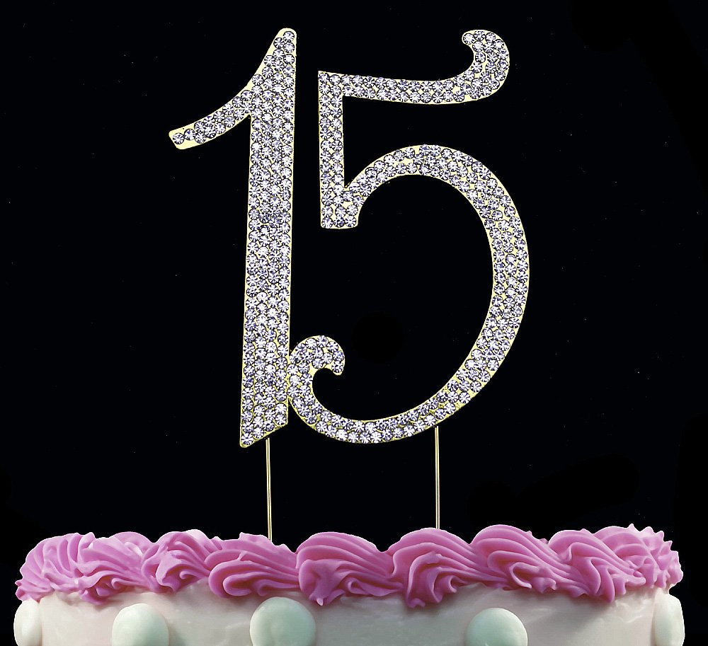 15 Cake Toppers Sparkling Bling Gold Birthday Quinceanera 15th Topper Amazon Grocery Gourmet Food