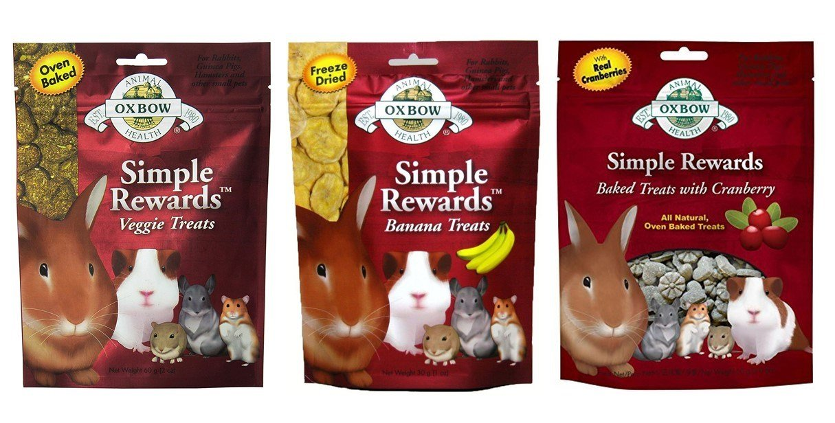 Simple Rewards Small Animal Treats 3 Flavor Variety Bundle (1) Each: Baked Cranberry, Freeze Dried Bananas, Baked Veggie, 1-2 Ounces by Simple