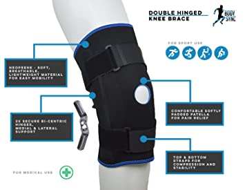 d4ac0532a4 Body Sync Hinged Knee Arthritis Support Brace Guard Stabilizer Strap Wrap  open patella NHS Medical Grade