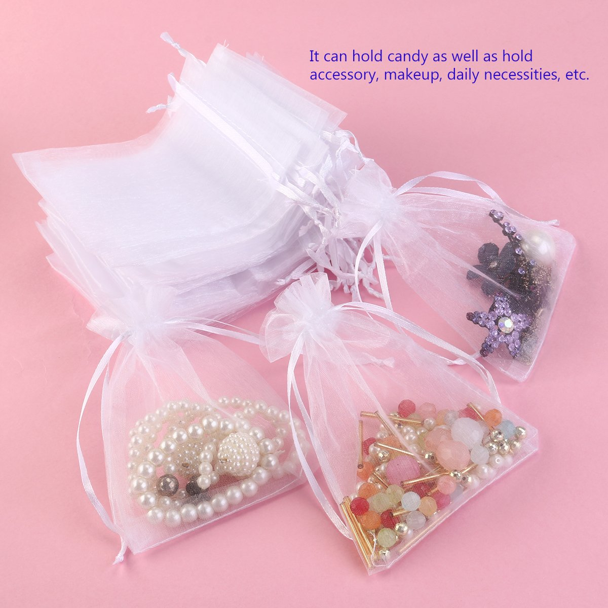 Foxnovo 100pcs 10*13cm Organza Drawstring Gift Bags Wedding Favor ...