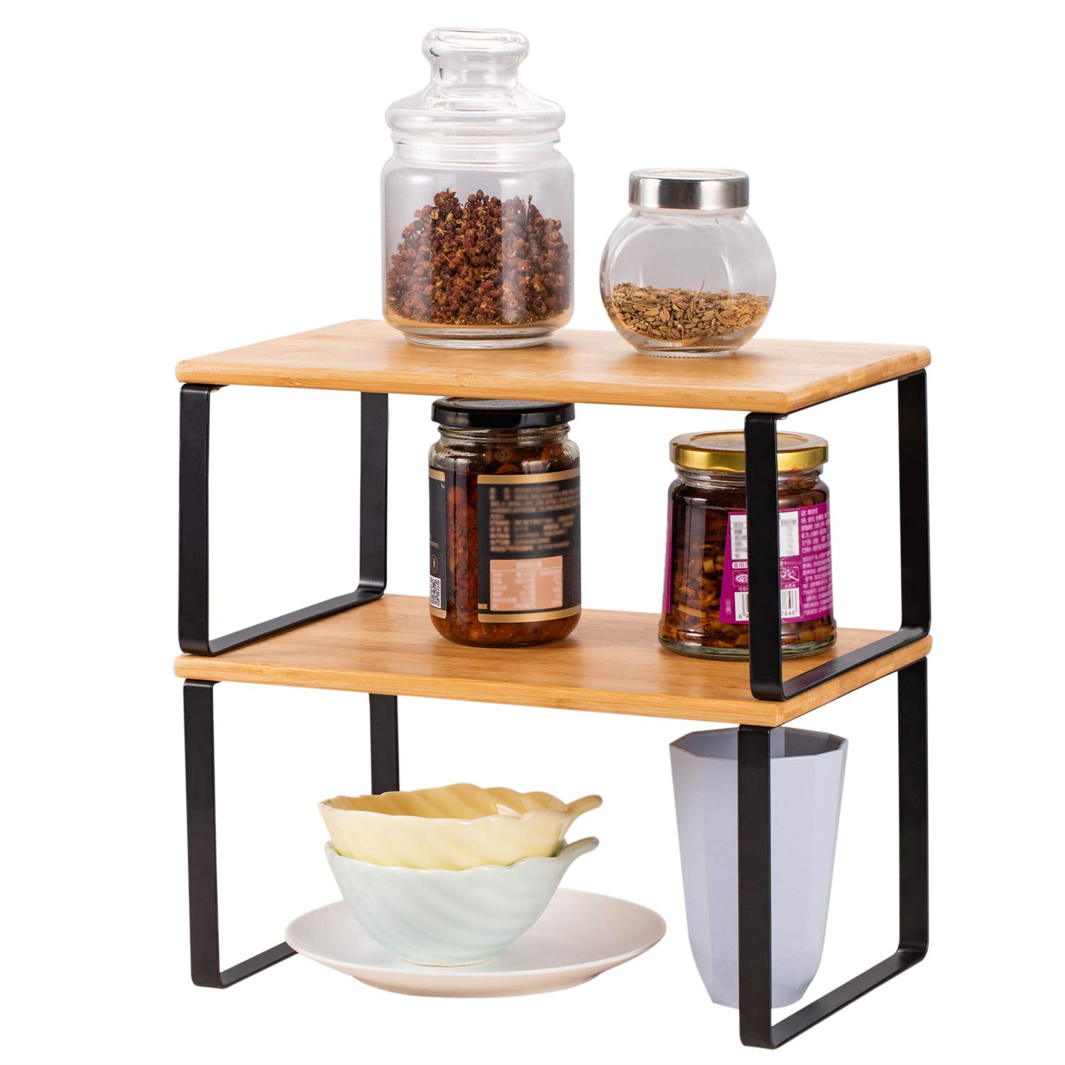 Bamboo Kitchen Cabinet Counter Shelf Expandable Stackable