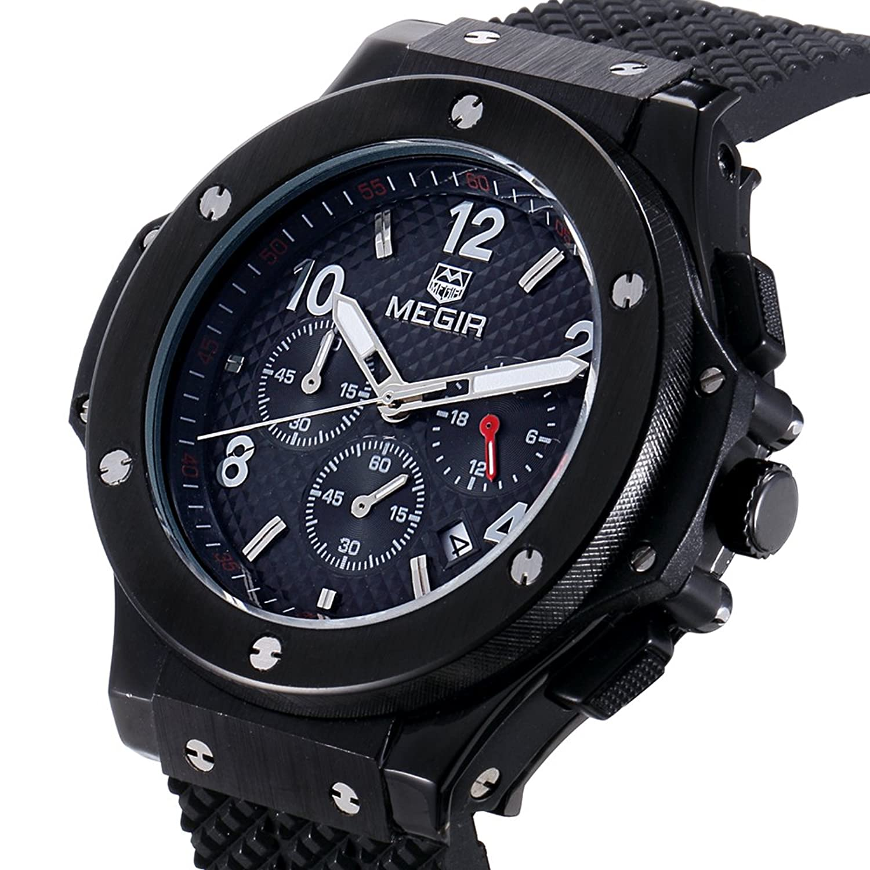 Amazon.com: MEGIR Watches men Military Black Quartz Wristwatches Silicone Strap Big Dial relojes: Watches