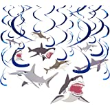30-Count Swirl Decorations - Shark Party Decorations, Party Streamers, Shark Whirl Hanging Decor, Assorted Designs - Hanging