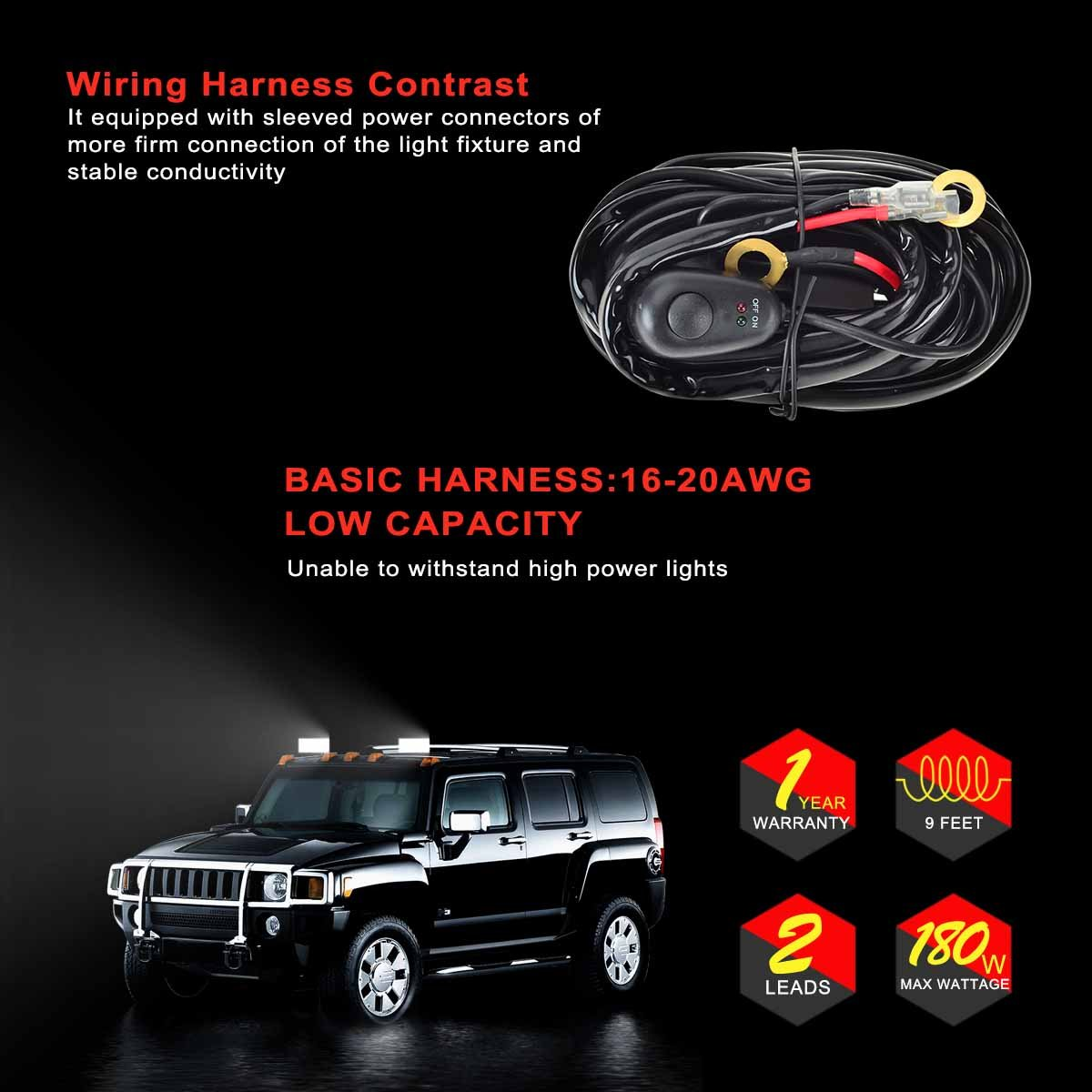 Kawell Universal 2 Lead Off Road Atv Jeep Led Light Bar Wiring Harness For Car Kit 40 Amp Relay On Switch 12v 40a Waterproof Automotive