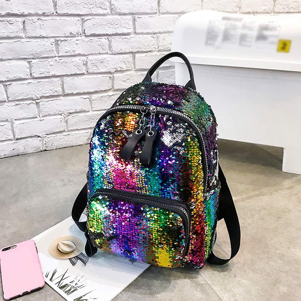 XUANOU Women Sequin Hit Color School Bag Backpack Student Satchel Travel Shoulder Bag
