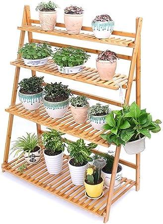 Soportes Flor Grande jardín Planta suculenta múltiples Capas Flor bambú Estante Suelo Sencilla Accesorios (Color : Wood Color, Size : 70 * 42 * 96cm): Amazon.es: Hogar