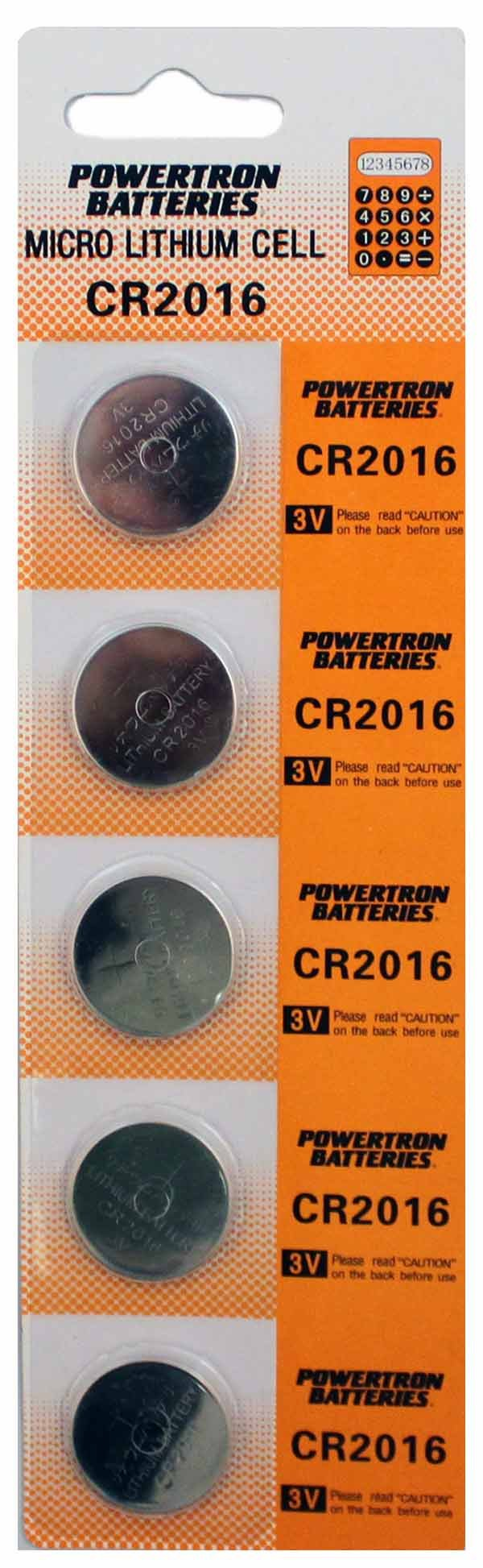 100 x CR2016 Lithium Coin Cell Batteries by Powertron