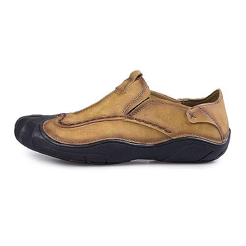 TQGOLD Zapatos para Hombre Mocasines de Cuero Pisos Zapatos de Verano(44 EU,Caqui
