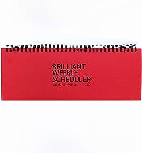 PAPERIAN Brilliant Weekly Scheduler - Wirebound Undated Weekly Planner Pad Scheduler (Red)