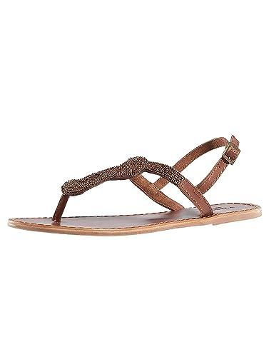 0091fd1bfa67 Pieces Women Shoes Sandals PSCarmen Beads Leather Brown 42  Amazon ...