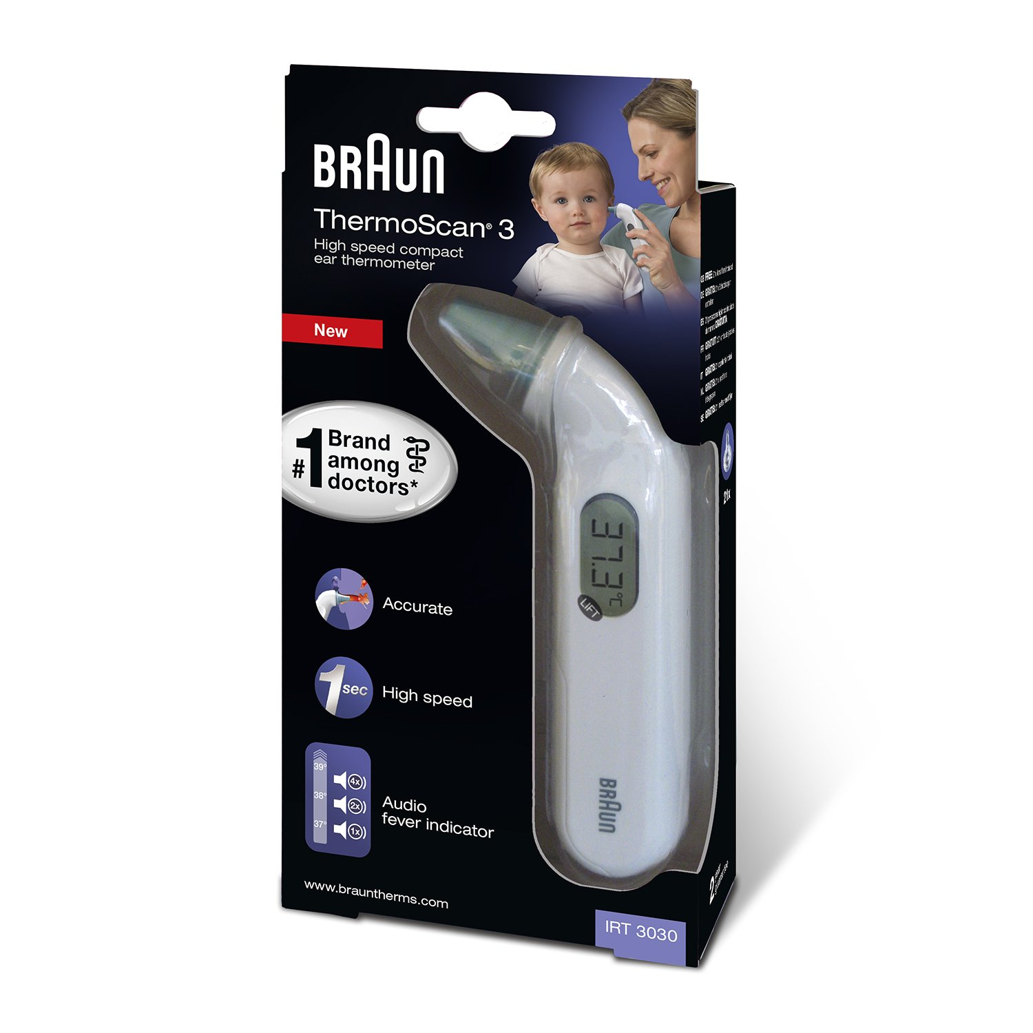 Braun ThermoScan 3 Infrared Ear Thermometer with Lens Filters Bundle