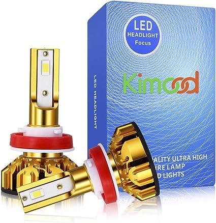 Bombilla H11 LED Coche Kimood LED H11 Coche, 10400LM y 72W / Set, 6000K Cool White 9-36V, Kit de Conversión Todo en Uno, Reemplazo de la Luz Halógena, 2 Lámparas: Amazon.es: Coche