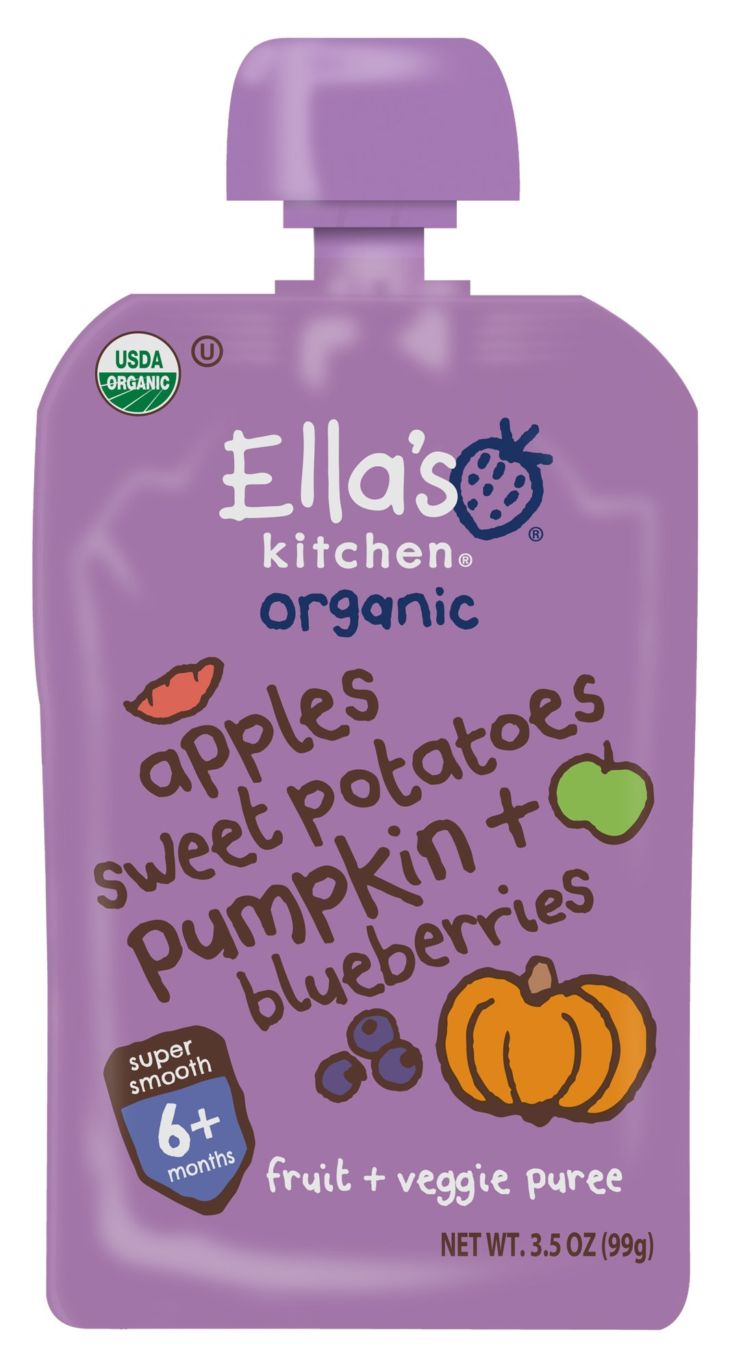 Ella's Kitchen Organic Stage 2, Apples Sweet Potatoes Pumpkin + Blueberries, 3.5 Ounce (Pack of 6)