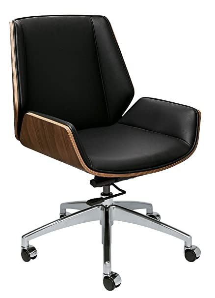 Fabulous Manhattan Mid Century Eames Style Office Chair With Vegan Leather And Wood Mid Back Black Forskolin Free Trial Chair Design Images Forskolin Free Trialorg