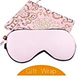 YANIBEST Adjustable Natural Silk Eye Mask for Sleeping Blindfold Sleep Masks for Men & Women (Pink)