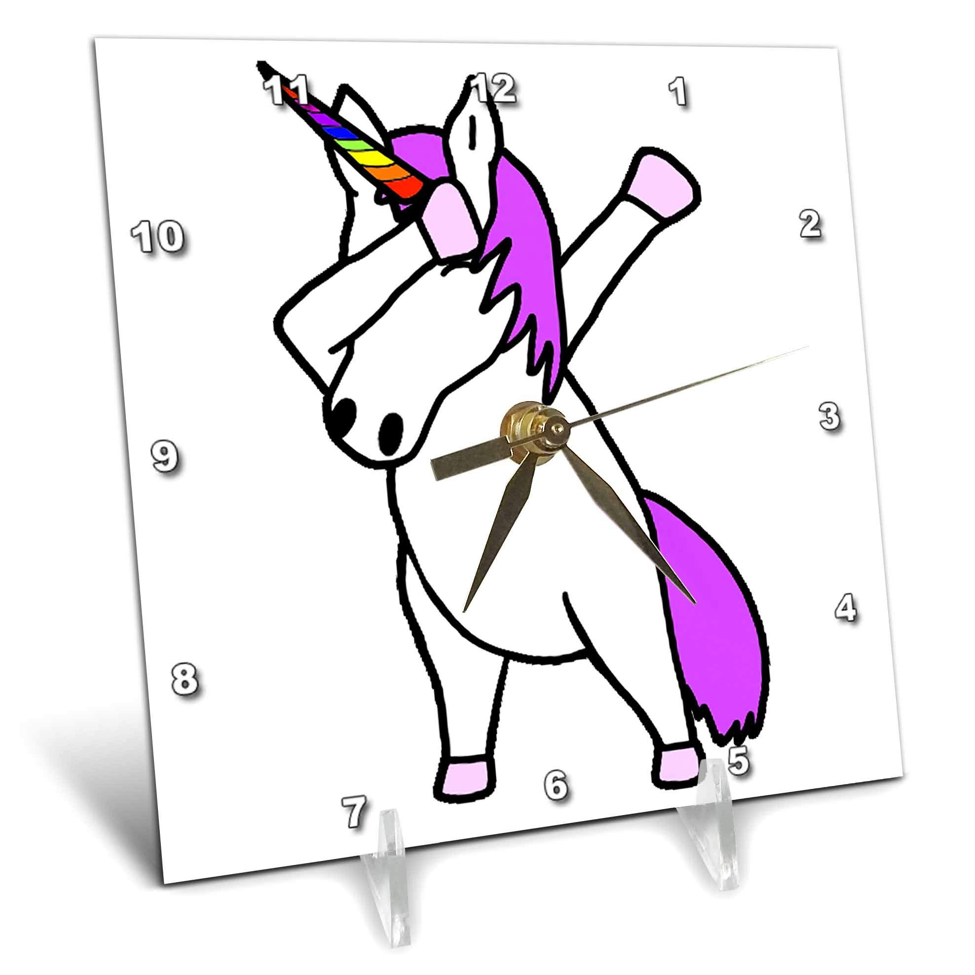 3dRose AllSouthernDesignTees - Dabbing - Cute funny cool dabbing dance unicorn trendy cartoon - 6x6 Desk Clock (dc_290614_1) by 3dRose (Image #1)