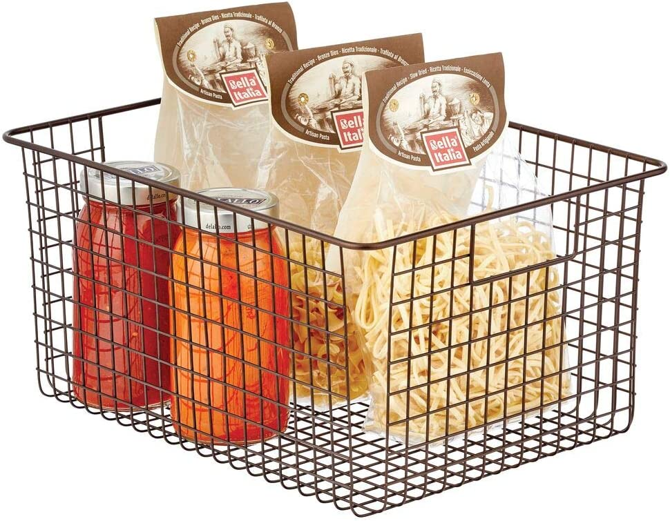 Organizer versatile con manici integrati per cucina o dispensa Contenitore universale in metallo mDesign Set da 4 Cesti portaoggetti in filo metallico bronzo