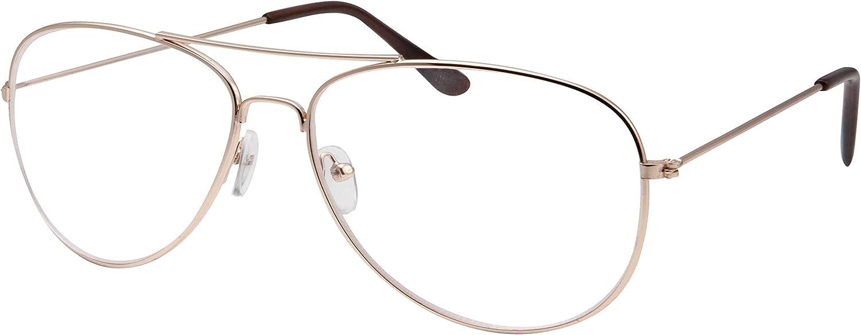Kids Size Non-Prescription Gold Aviator Glasses Clear Lens Oversized (Age 6-12)