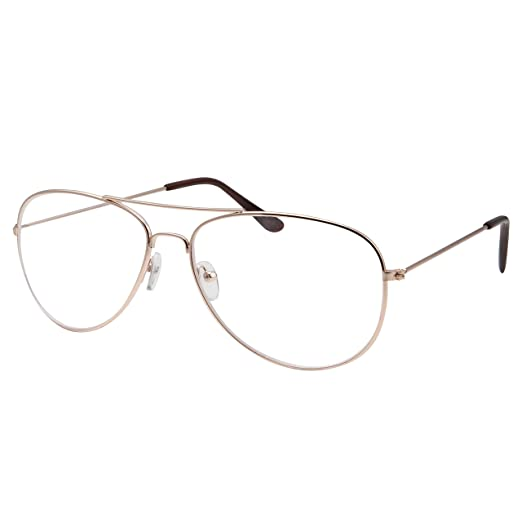 dc4be3472be Amazon.com  Kids Size Non-Prescription Gold Aviator Glasses Clear Lens  Oversized (Age 6-12)  Clothing