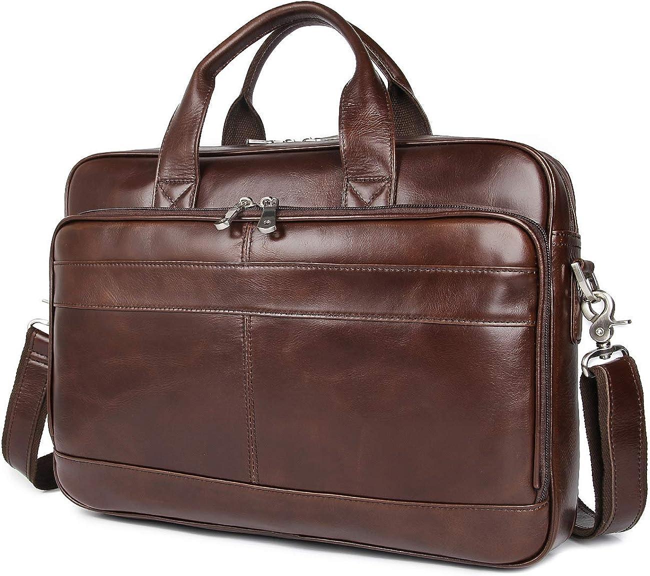 Augus Leather Messenger Bag for Men Vintage Travel Backpack 17 inch laptop Briefcase Shoulder Bags