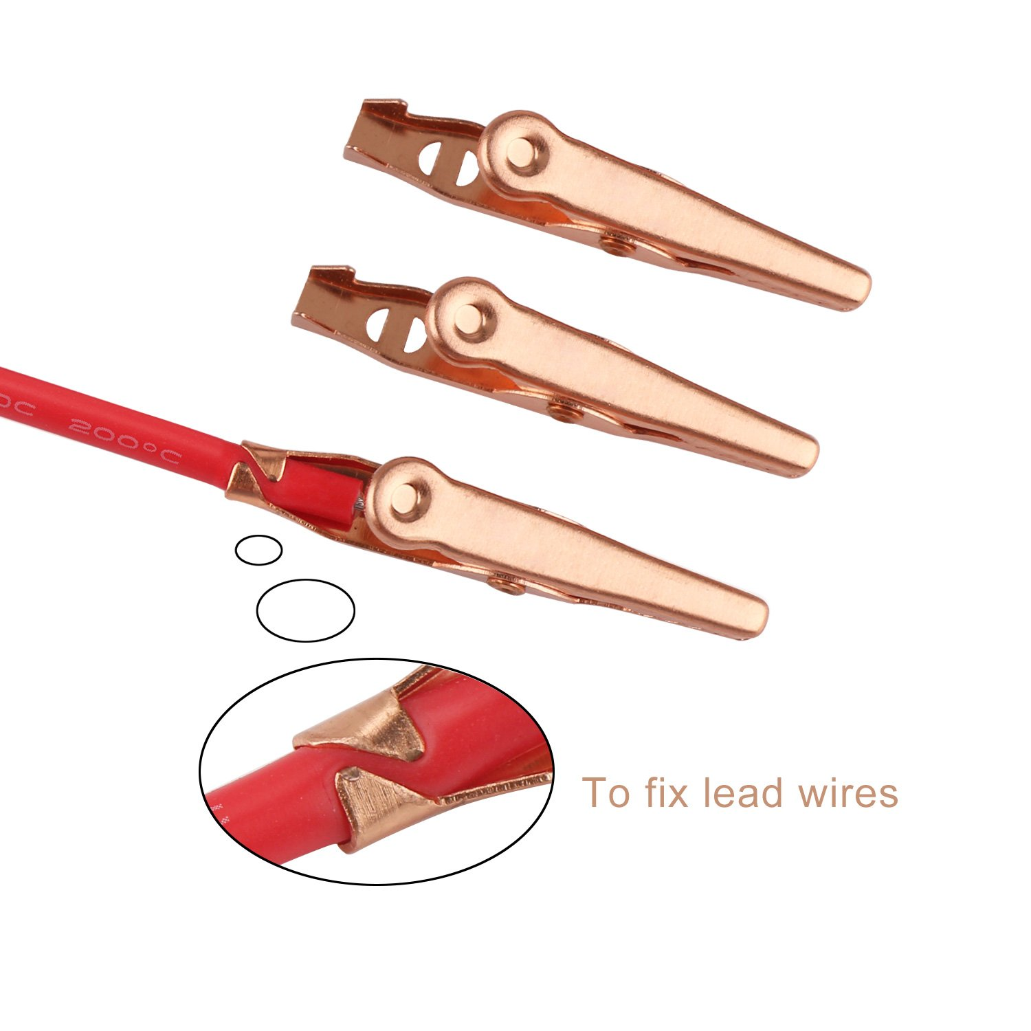 DROK Alligator Clip Wires Pure Copper 19.6 inches Double Ended Electric Test Cables Connectors Wire Circuit Experiment 2 pcs Crocodile Alligator Clip Clamp Test Leads